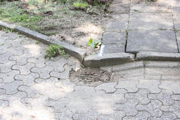 Der Knick im Pflaster, der durch das nicht abfließende Wasser entstand. Foto: Tulacek