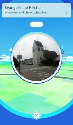 """Die Friedenskirche ist als """"PokéStop"""" markiert. Foto: Tulacek"""